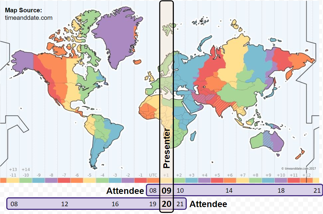 Timezone map from timeanddate.com showing a presenter in UTC+1 and attendees around the world.